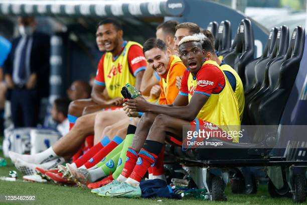 Victor Osimhen of SSC Napoli looks on during the Serie A match between UC Sampdoria and SSC Napoli at Stadio Luigi Ferraris on September 23, 2021 in...
