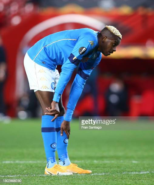 Victor Osimhen of SSC Napoli reacts after a near miss during the UEFA Europa League Round of 32 match between Granada CF and SSC Napoli at Nuevo...