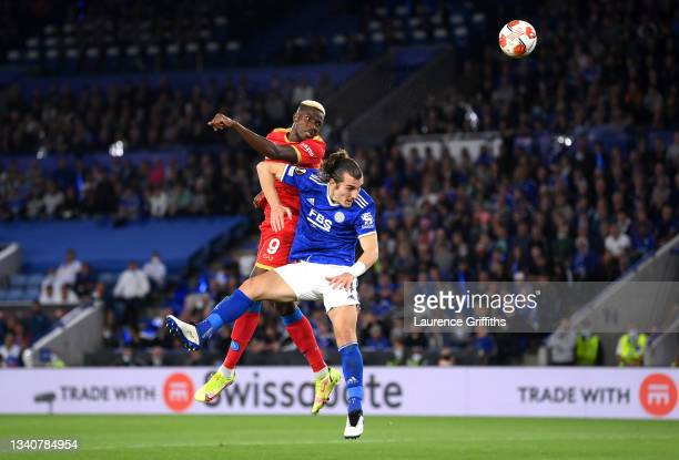 Victor Osimhen of SSC Napoli scores their side's second goal whilst under pressure from Caglar Soyuncu of Leicester City during the UEFA Europa...