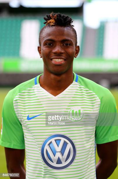 Victor Osimhen of VfL Wolfsburg poses during the team presentation at on September 13 2017 in Wolfsburg Germany