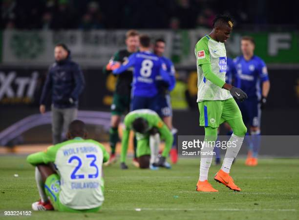 Victor Osimhen of Wolfsburg looks dejected at the end of the Bundesliga match between VfL Wolfsburg and FC Schalke 04 at Volkswagen Arena on March 17...
