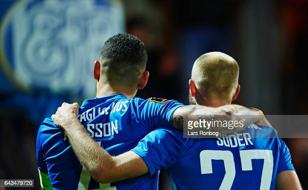 Victor Palsson and Robin Soder of Esbjerg fB celebrate during the Danish Alka Superliga match between Esbjerg fB and Sonderjyske at Blue Water Arena...