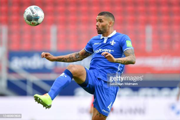 Victor Palsson of Darmstadt controls the ball during the Second Bundesliga match between SSV Jahn Regensburg and SV Darmstadt 98 at Continental Arena...
