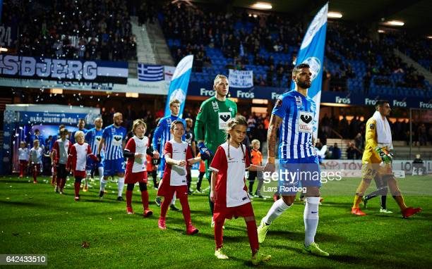 Victor Palsson of Esbjerg fB leads his team on to the pitch prior to the Danish Alka Superliga match between Esbjerg fB and Sonderjyske at Blue Water...