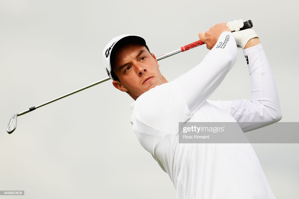 Victor Pastor of Spain tees of the 9th hole during day two of the Open de Espana at Centro Nacional de Golf on April 13, 2018 in Madrid, Spain.