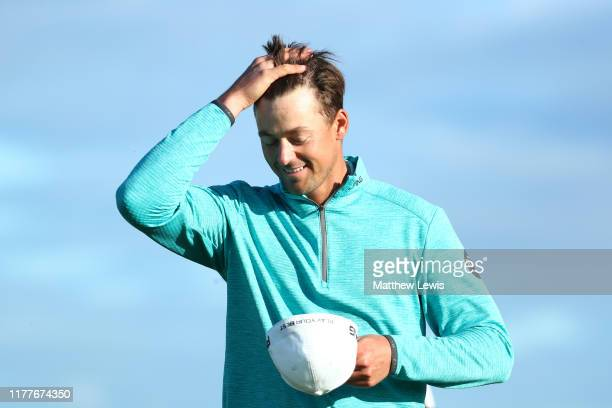 Victor Perez of France celebrates finishing his round on the 9th hole during Day three of the Alfred Dunhill Links Championship at Kingsbarns Golf...