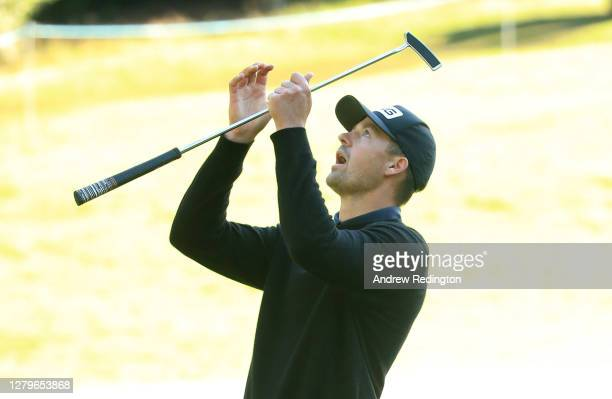 Victor Perez of France reacts on the 17th green after a missed putt during Day Four of the BMW PGA Championship at Wentworth Golf Club on October 11,...