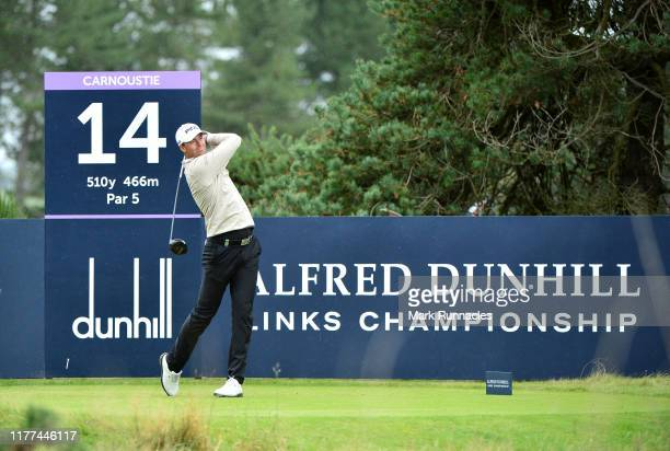 Victor Perez of France tees off on the 14th hole during Day two of the Alfred Dunhill Links Championship at Carnoustie Golf Links on September 27...