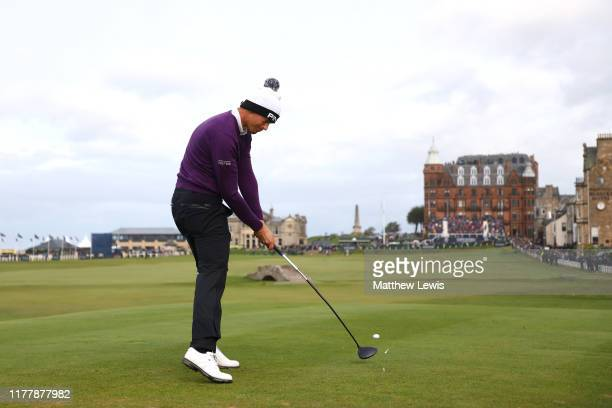 Victor Perez of France tees off on the 18th hole during Day four of the Alfred Dunhill Links Championship at The Old Course on September 29 2019 in...