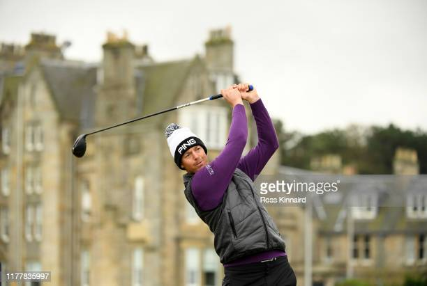 Victor Perez of France tees off on the 2nd hole during Day four of the Alfred Dunhill Links Championship at The Old Course on September 29, 2019 in...