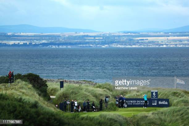 Victor Perez of France tees off on the 6th hole during Day three of the Alfred Dunhill Links Championship at Kingsbarns Golf Links on September 28,...