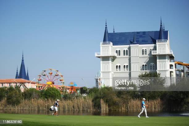 Victor Perez of France walks down the sixth hole during Day Two of the Turkish Airlines Open at The Montgomerie Maxx Royal on November 08, 2019 in...