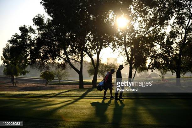 Victor Perez of France walks down the tenth fairway during Day Two of the Abu Dhabi HSBC Championship at Abu Dhabi Golf Club on January 17, 2020 in...