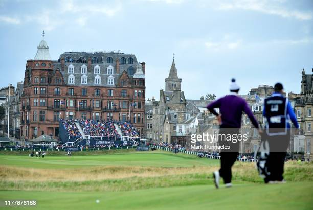 Victor Perez of France watches on in front of the 18th hole during Day four of the Alfred Dunhill Links Championship at The Old Course on September...