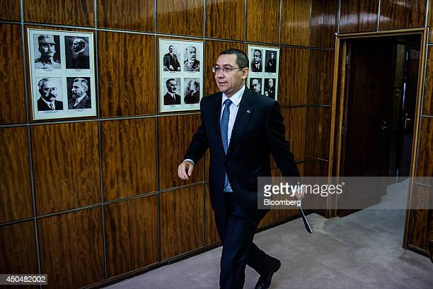 Victor Ponta Romania's prime minister arrives for an interview at the Victoria Palace in Bucharest Romania on Thursday June 12 2014 Romania is...