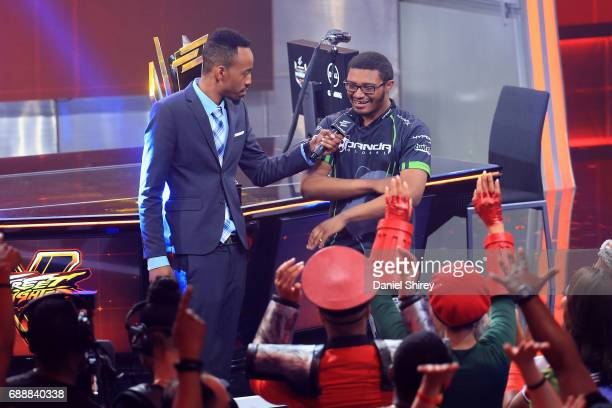 Victor 'Punk' Woodley of the USA is interviewed by Malik Forte ELEAGUE reporter after beating Arman 'Phenom' Hanjani in the Grand Final of the...