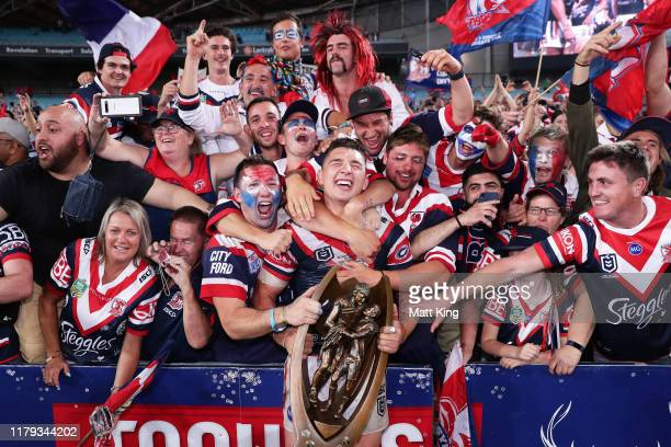 Victor Radley of the Roosters celebrates victory with fans after the 2019 NRL Grand Final match between the Canberra Raiders and the Sydney Roosters...