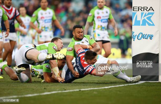 Victor Radley of the Roosters heads to the try line to score during the round 23 NRL match between the Canberra Raiders and the Sydney Roosters at...