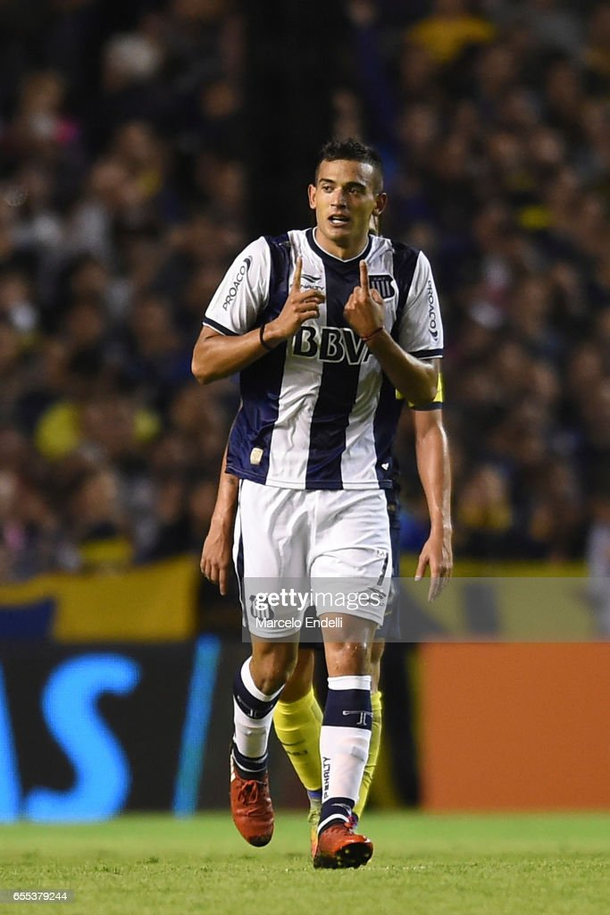 Victor Ramis of Talleres celebrates after scoring the first goal of his team during a match between Boca Juniors and Talleres as part of Torneo Primera Division 2016/17 at Alberto J Armando Stadium on March 12, 2017 in Buenos Aires, Argentina.
