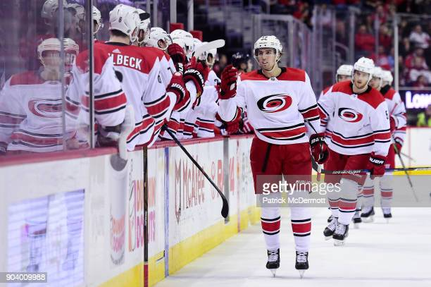 Victor Rask of the Carolina Hurricanes celebrates after scoring a goal in the third period against the Washington Capitals at Capital One Arena on...
