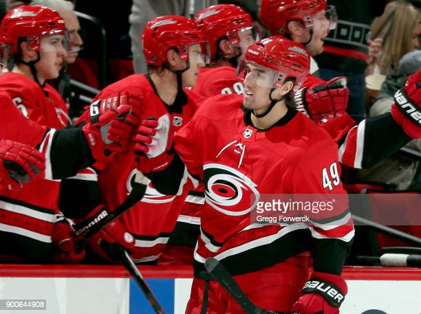 Victor Rask of the Carolina Hurricanes celebrates his second period goal against the Washington Capitals during an NHL game on January 2 2018 at PNC...