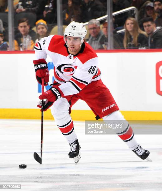 Victor Rask of the Carolina Hurricanes skates against the Pittsburgh Penguins at PPG Paints Arena on January 4 2018 in Pittsburgh Pennsylvania