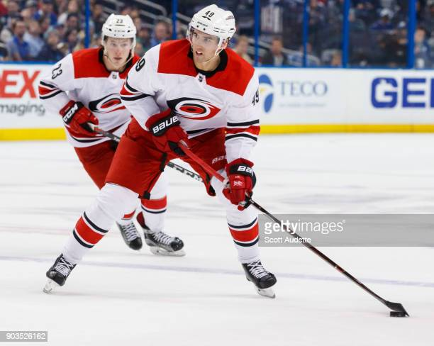 Victor Rask of the Carolina Hurricanes skates against the Tampa Bay Lightning at Amalie Arena on January 9 2018 in Tampa Florida 'n