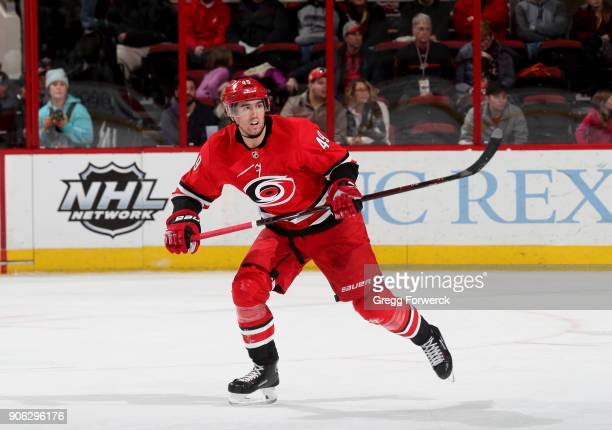 Victor Rask of the Carolina Hurricanes skates for position on the ice during an NHL game against the Calgary Flames on January 14 2018 at PNC Arena...