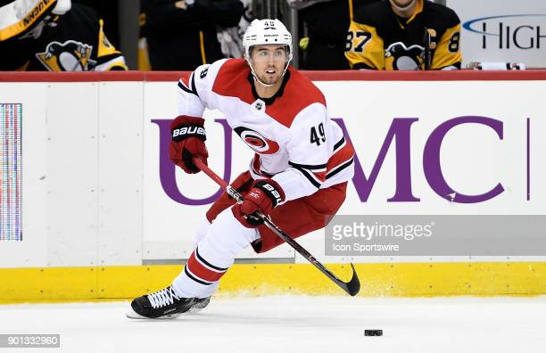 Victor Rask of the Carolina Hurricanes skates with the puck in the second period during the game against the Pittsburgh Penguins at PPG PAINTS Arena...