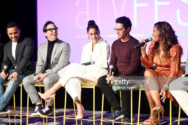 Victor Rasuk Dan Bucatinsky Michelle Veintimilla David Del Rio and Lisa Vidal speak onstage for SCAD aTVfest 2020 The Baker And The Beauty panel on...