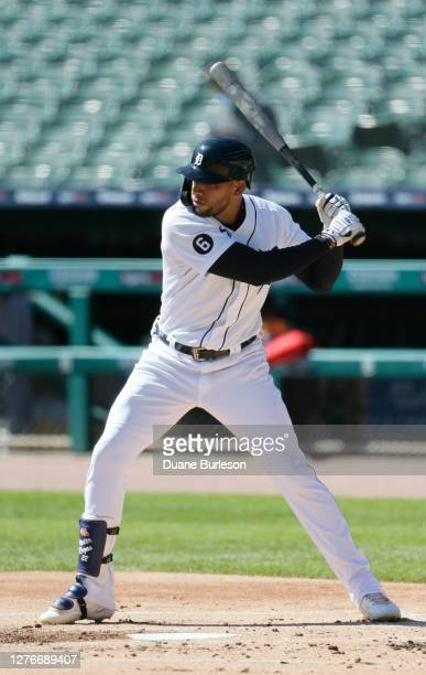 Victor Reyes of the Detroit Tigers bats against the Cleveland Indians at Comerica Park on September 20 in Detroit Michigan