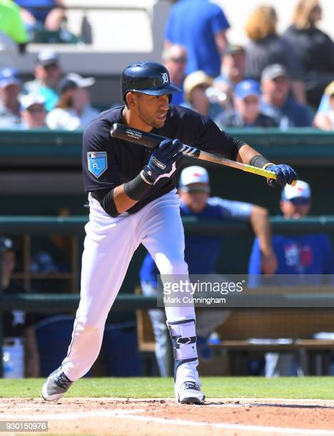 Victor Reyes of the Detroit Tigers bats during the Spring Training game against the Toronto Blue Jays at Publix Field at Joker Marchant Stadium on...