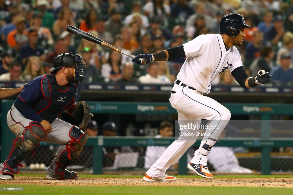 Victor Reyes #22 of the Detroit Tigers hits a eighth inning RBI single while playing the Minnesota Twins at Comerica Park on June 13, 2018 in Detroit, Michigan.