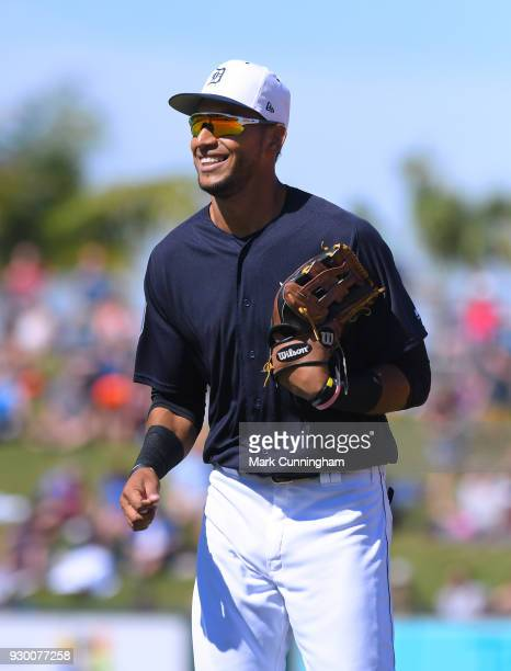 Victor Reyes of the Detroit Tigers looks on during the Spring Training game against the Toronto Blue Jays at Publix Field at Joker Marchant Stadium...
