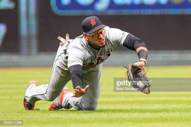 Victor Reyes of the Detroit Tigers makes a diving catch during the ninth inning against the Kansas City Royals at Kauffman Stadium on July 25 2018 in...