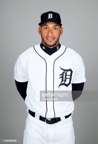 Victor Reyes of the Detroit Tigers poses during Photo Day on Tuesday February 19 2019 at Publix Field at Joker Marchant Stadium in Lakeland Florida