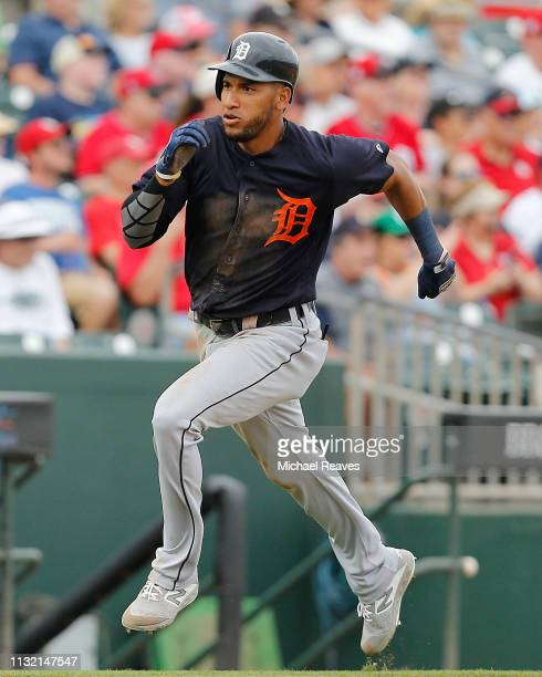Victor Reyes of the Detroit Tigers scores a run in the fifth inning against the St Louis Cardinals during the Grapefruit League spring training game...