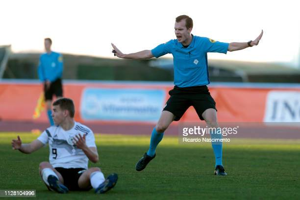 Victor Ris claims a no fault during UEFA Development Tournament match between U16 Netherlands and U16 Germany at VRSA Stadium on February 7 2019 in...