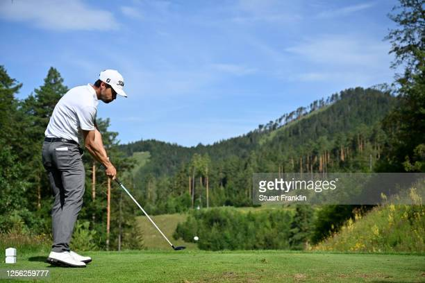 Victor Riu of France hits his tee-shot on the seventh hole during day one of the Euram Bank Open at Golf Club Adamstal on July 15, 2020 in Ramsau,...