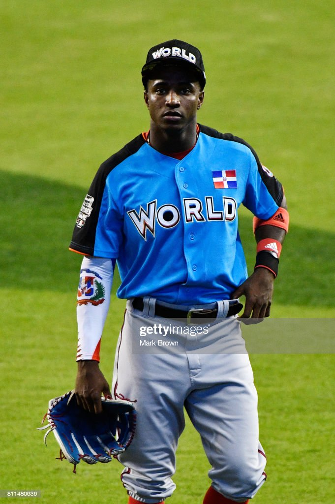 Victor Robles #16 of the Washington Nationals and the World Team warms up prior to the SiriusXM All-Star Futures Game at Marlins Park on July 9, 2017 in Miami, Florida.