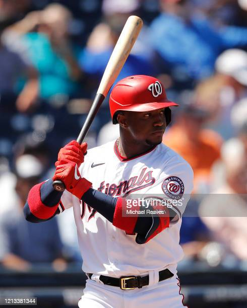 Victor Robles of the Washington Nationals at bat against the New York Yankees during a Grapefruit League spring training game at FITTEAM Ballpark of...