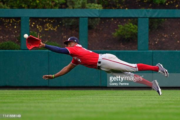 Victor Robles of the Washington Nationals can't make the out during the seventh inning at Citizens Bank Park on May 5 2019 in Philadelphia...