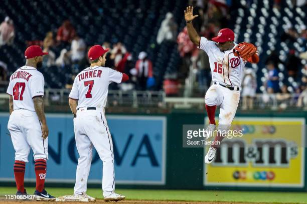 Victor Robles of the Washington Nationals celebrate with Trea Turner after the game against the Philadelphia Phillies at Nationals Park on June 20...