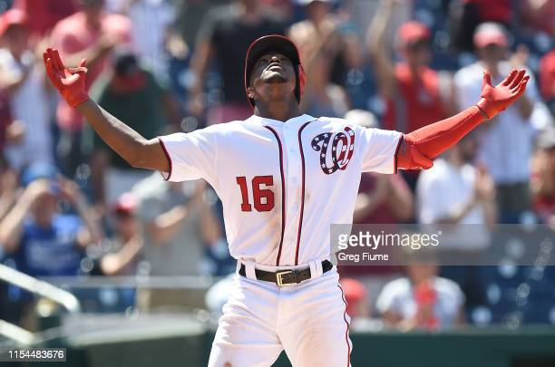 Victor Robles of the Washington Nationals celebrates after hitting a home run in the seventh inning against the Kansas City Royals at Nationals Park...