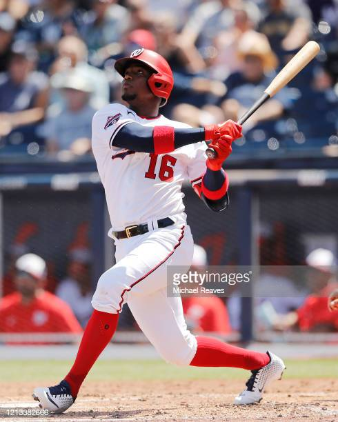 Victor Robles of the Washington Nationals hits a solo home run against the New York Yankees during the third inning of a Grapefruit League spring...