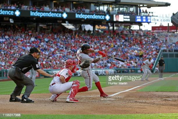Victor Robles of the Washington Nationals hits a two-run double in the second inning during a game against the Philadelphia Phillies at Citizens Bank...
