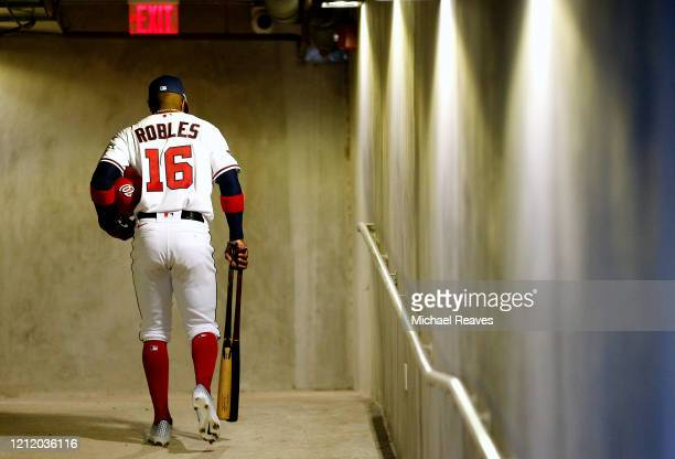Victor Robles of the Washington Nationals leaves the dugout against the New York Yankees in the bottom of the fifth inning of a Grapefruit League...