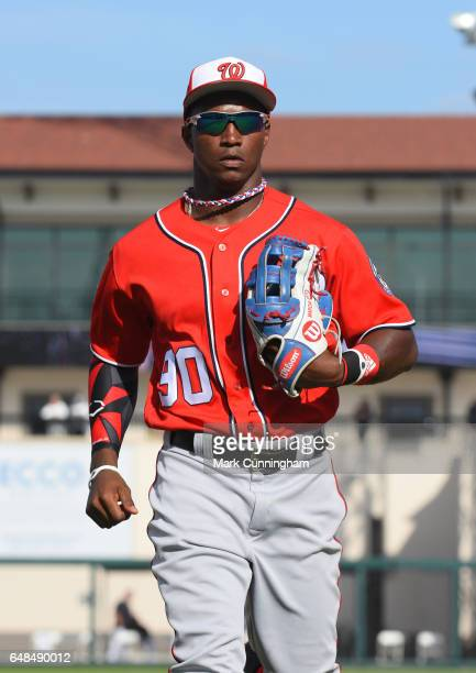 Victor Robles of the Washington Nationals looks on during the Spring Training game against the Detroit Tigers at Publix Field at Joker Marchant...