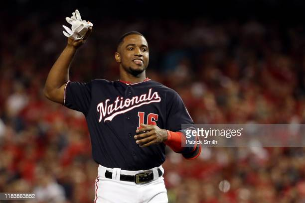 Victor Robles of the Washington Nationals reacts after being called out on strikes to end the seventh inning against the Houston Astros in Game Five...