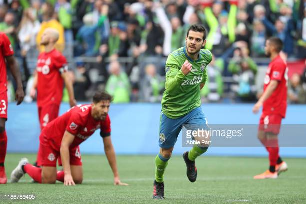 Victor Rodriguez of the Seattle Sounders celebrates after scoring a goal in the second half to give the Seattle Sounders a 20 lead against Toronto FC...